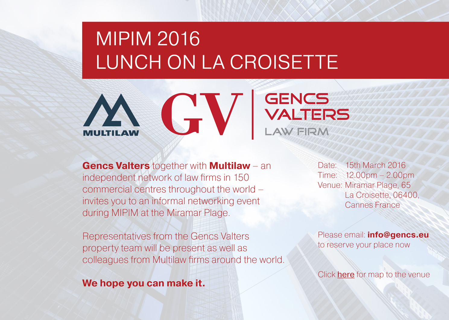 MIPIM invitation, Gencs Valters law firm, lawyer in Latvia